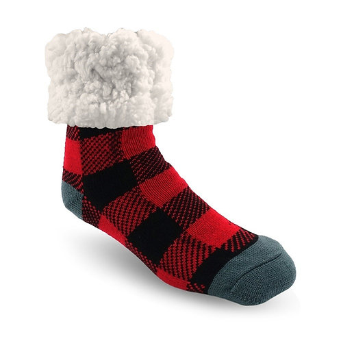 Black & red checkered thick sock with very plush fleecy cuff