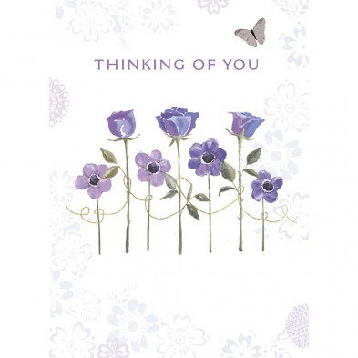 Tree-free Greetings Thinking of You Condolences Card, row of purple roses and daisies and a butterfly above text