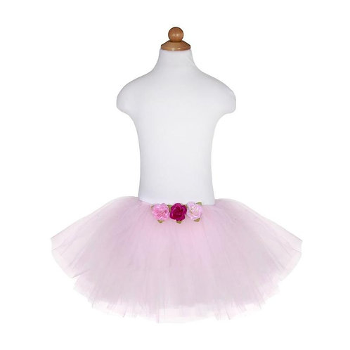 Mannequin showing Great Pretenders pink Baby sized Tutu with 3 red roses at the front of the waist band
