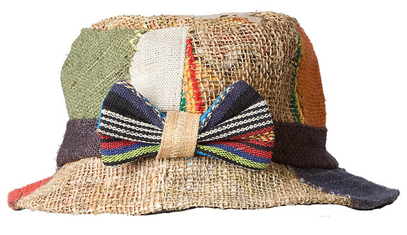 Ark Fair Trade Hemp Bucket Hat - multicoloured patches with at back of crown