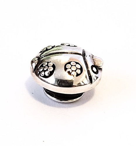 Side view of JewelPop insert for Kameleon jewelry - antiqued sterling silver ladybug