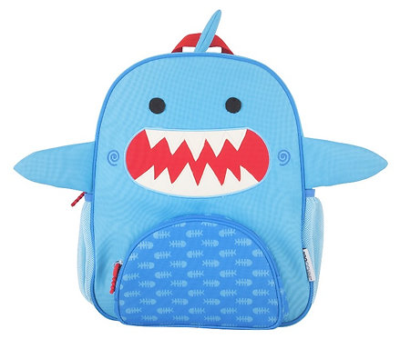 Front view of blue kids' backpack with red & white shark face on front
