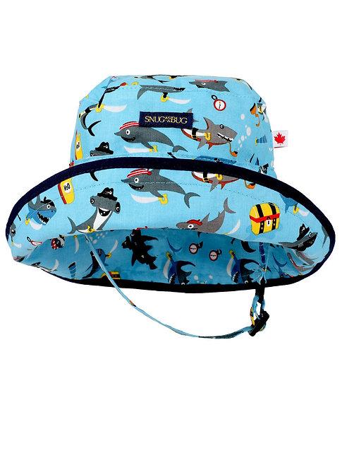 Snug as a Bug Sharks Ahoy! Adjustable Sun Hat front view