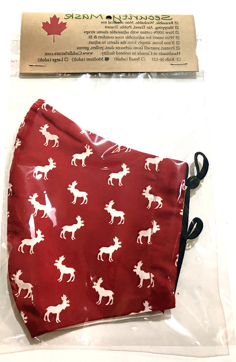 Right side of cotton mask-small white moose print on red background