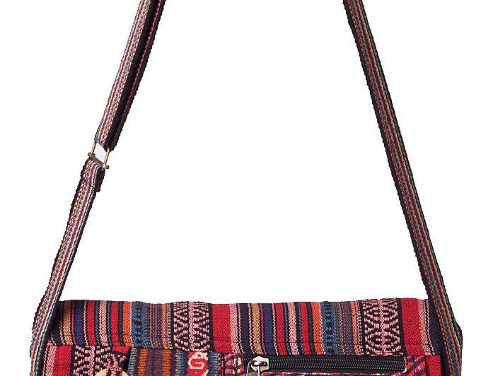 Ark Fair Trade Mandu Shoulder Bag 2 outer pockets stripes and patterns in red