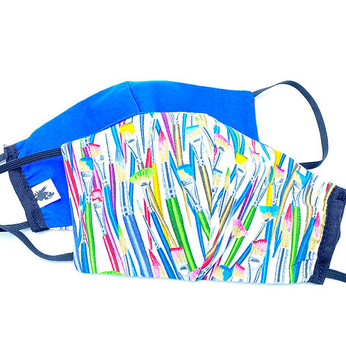 2 face masks-Colourful artist brushes on whitebackground on one- solid royal blue on the other