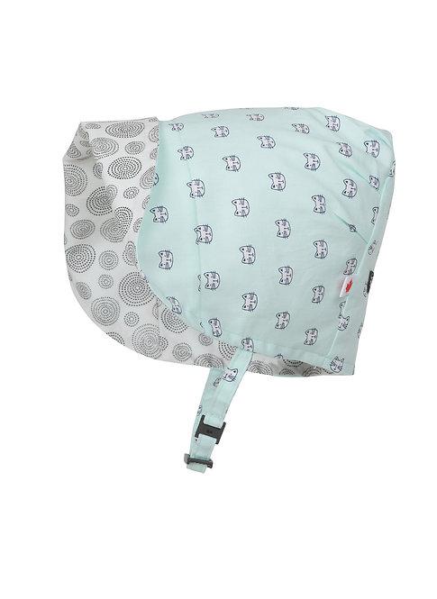 Snug as a Bug Kitty Love Reversible Bonnet side 1 brim folded