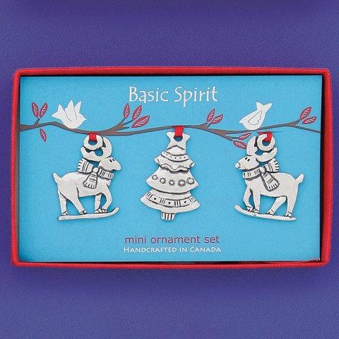Basic Spirit Pewter Reindeer Mini Ornaments