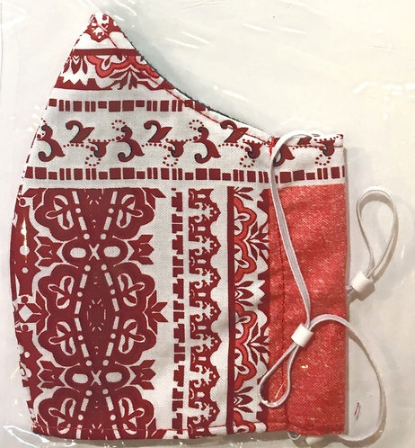 close up of red & white printed cotton kid's protective mask