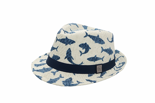 Front-side view of white child's fedora with navy blue sharks print