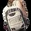 Female modeling hemp Cotton Knapsack-3 outer zip pouch-main zip pouch-adjustable strap natural colour & black stripes