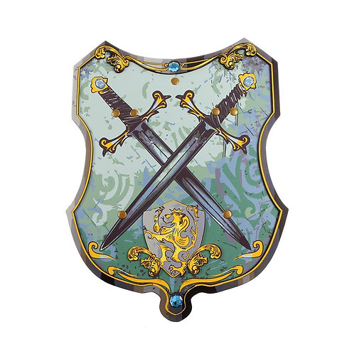 CRest-shaed Blue Knight EVA Foam Shield, blue and gold depicting two crossed swords and a gold lion shield