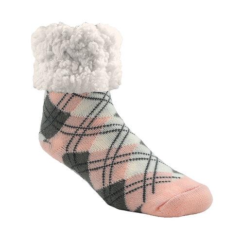 Pink, white & gray slipper-sock-big white fleecy cuff