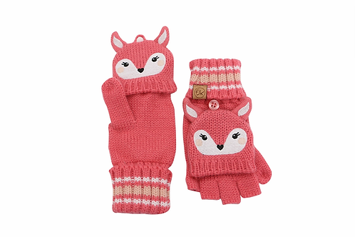 Coral knit fingerless gloves with mitten flap over fingers & deer face with ears on backs