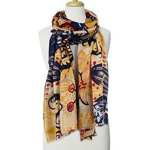 yekllow & black floral print scarf on bust