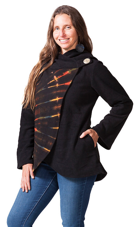 Female model-black hip length jacket-right side crosses over chest and buttons at left shoulder-rays of red on right front