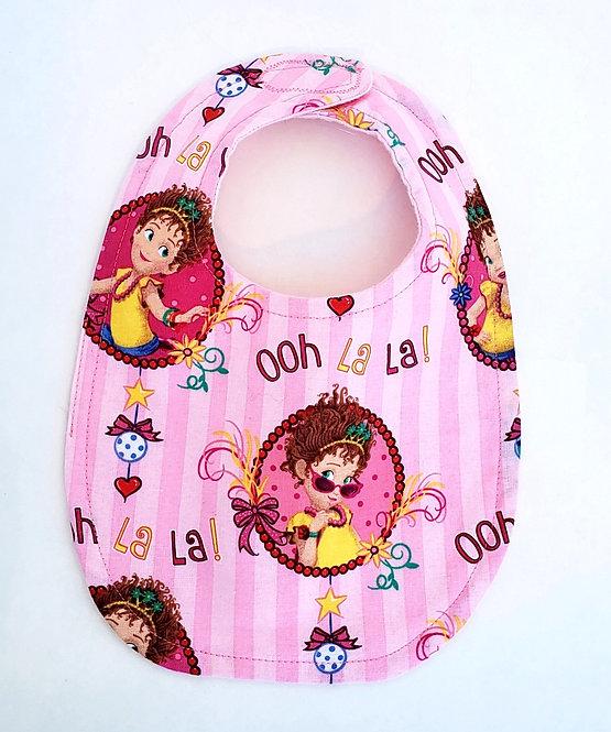 Pink Handmade Baby Bib - Fancy Nancy print and the words 'Ooh la la!' printed on it
