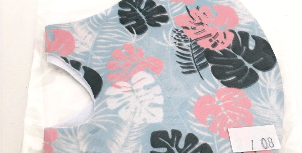Side view of folded light blue mask withpink andcharcoal grey floral print