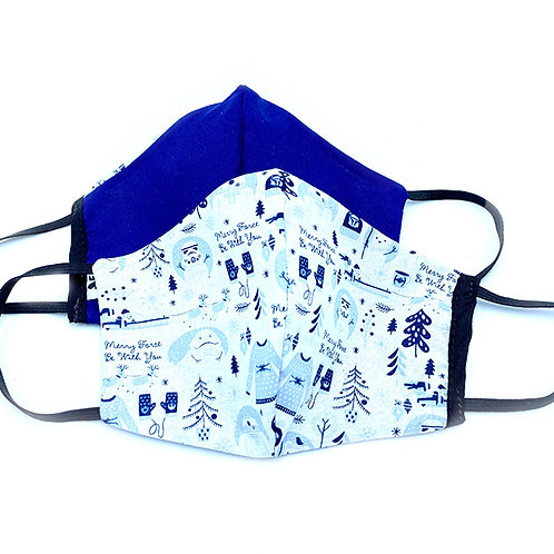 2 cloth face masks-white with blue winter print & solid blue