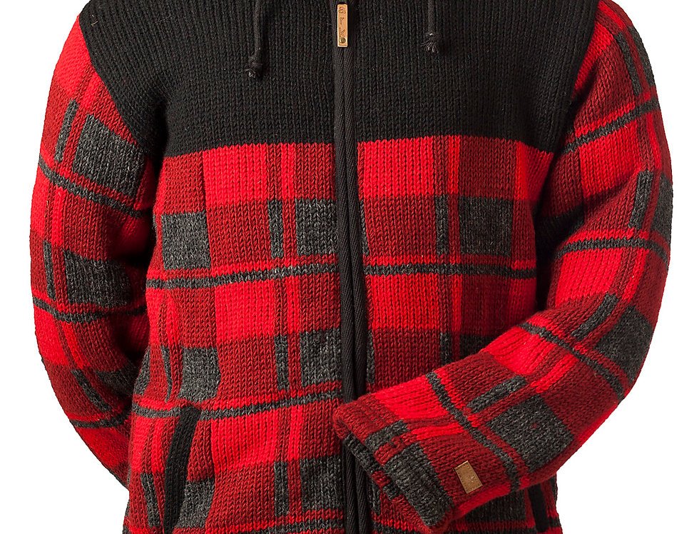 Front view of heavy knit wool cardigan-red and gray check-zipper front-drawstring hood-2 pockets-black upper chest&shoulders