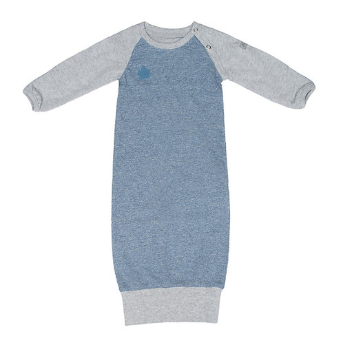 Front view of denim blue & gray raglan sleeve nightgown with ribbed bottom hem