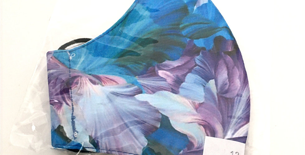 Side view of folded mask with blue & purple large floral print