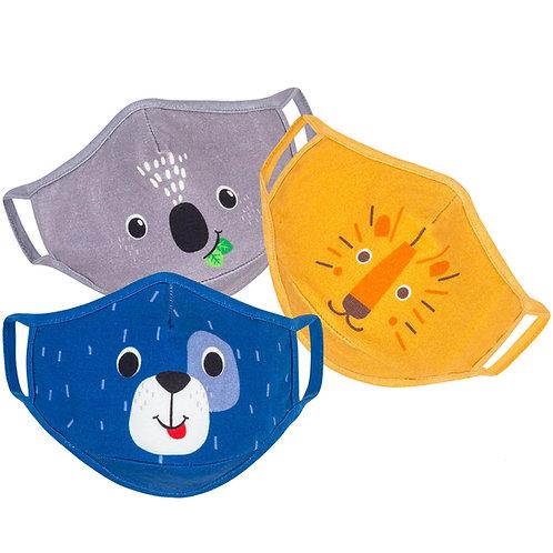 3 kids masks-gray sloth-blue-dog-yellow-lion