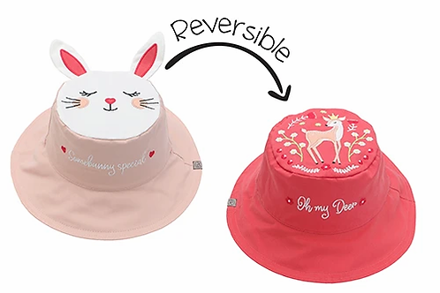 Reversible child's sun hat coral embroidered deer one side, pale pink & white embroidered bunny face & ears the other