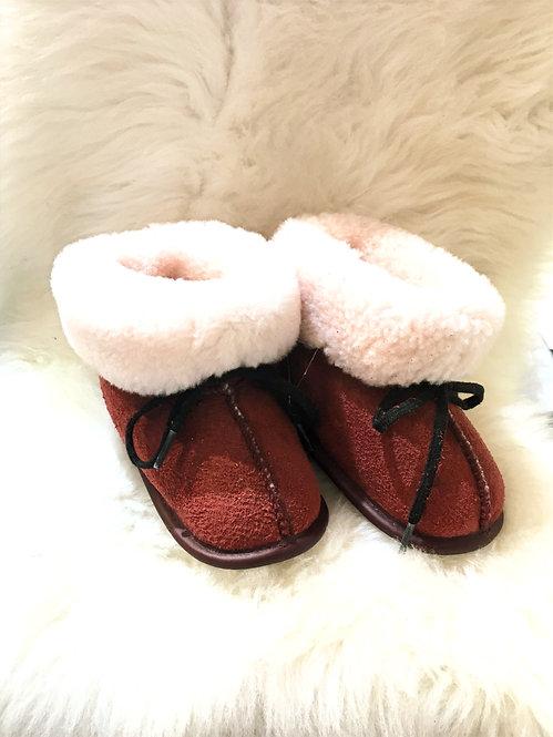 Toddler Sheepskin Slippers - Rose