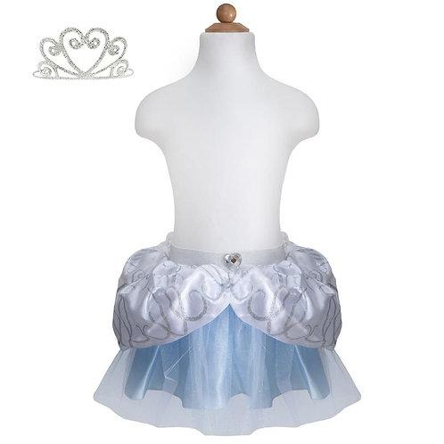 Body form showing shiny blue tutu with silver & white peplum skirt & silver headband