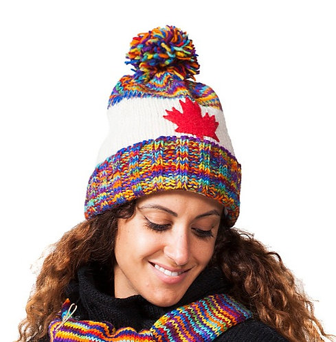 Rib knit wool toque with rainbow blend cuff, crown & pompom, white center with red maple leaf