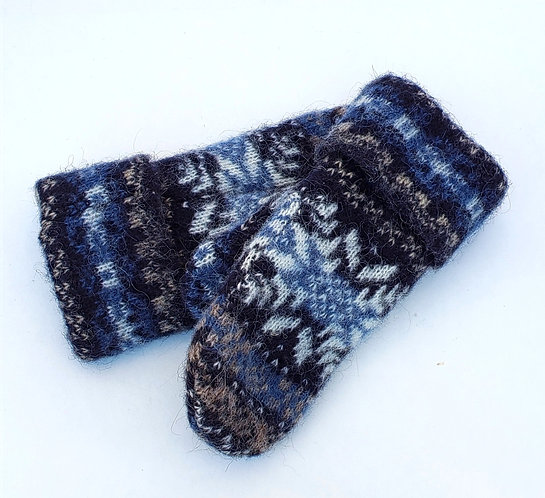 Icelandic Wool Mitts - ivory & blue snowflake with navy & tan