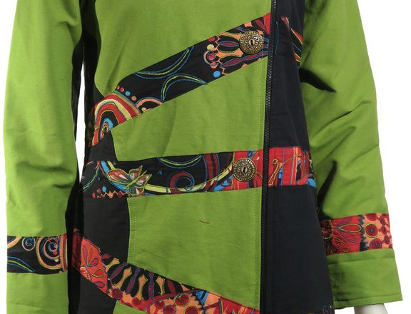 Front view of knee-length lime & black canvas jacket with patches of brightly colored prints