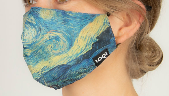 Side view close up model wearing fitted face mask with reproduction of Van Gogh's The Starry Night