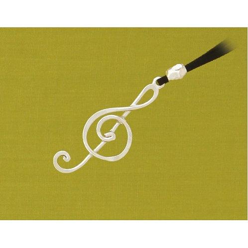 Basic Spirit Pewter Treble Clef Pendant on black suede cord