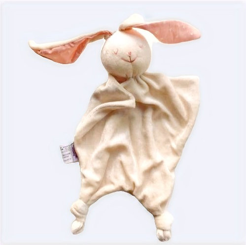 Cream colored bunny blanket toy with pink ears