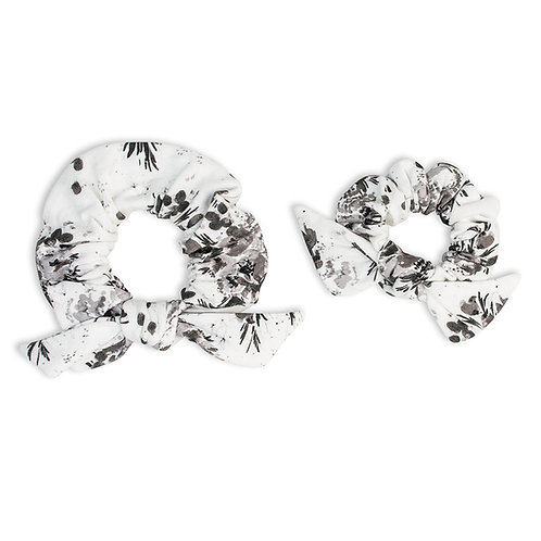 2 black & white floral print hair scrunchies