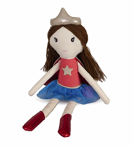Great Pretenders Suzie the Supergirl Doll with brown hair dressed in red and blue supergirl outfit