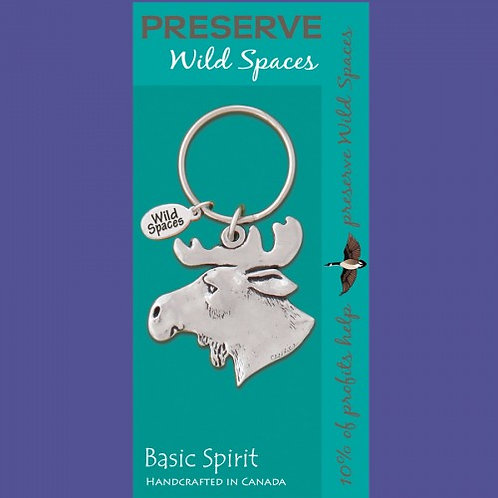 Turquoise card with pewter moose head and key ring attached, Card says preserve wild spaces and Basic Spirit