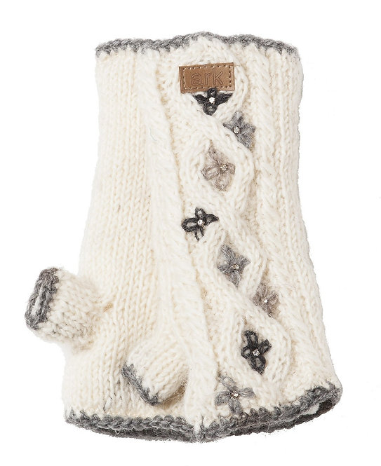 Natural white cableknit wool handwarmers, 5 small 4-petal flowers stitched on in light & dark gray, leather tag with Ark logo