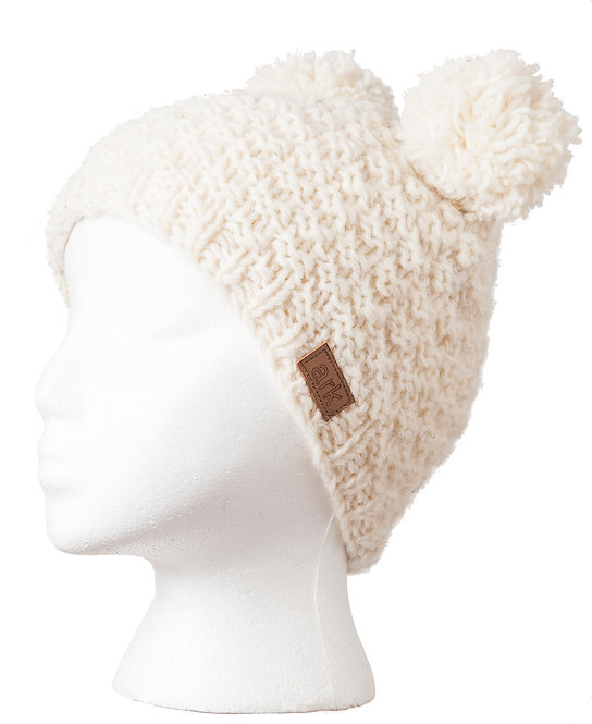 Natural white honeycomb knit wool hat with 2 pompoms