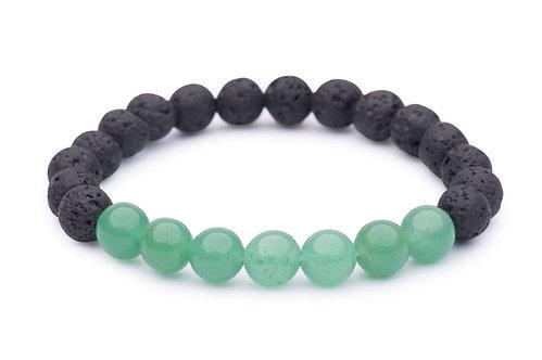 Lava Bead Stretch Bracelet with green aventurine beads