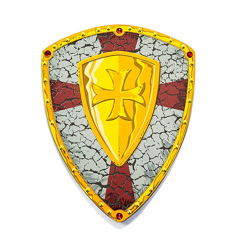 Great Pretenders Crusader Printed Shield in metallic gray, red St George's cross & gold crest with knights templar cross
