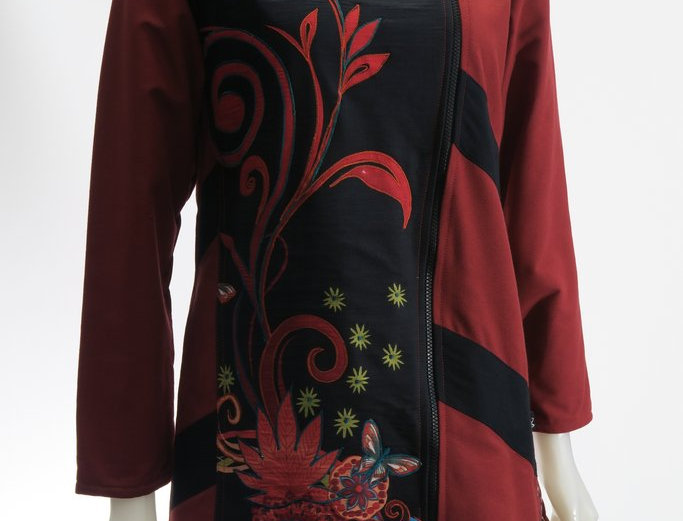Long-sleeve knee length jacket-off-center front zipper-fold-over collar-merlot-1 black front panel merlot floral embroidery