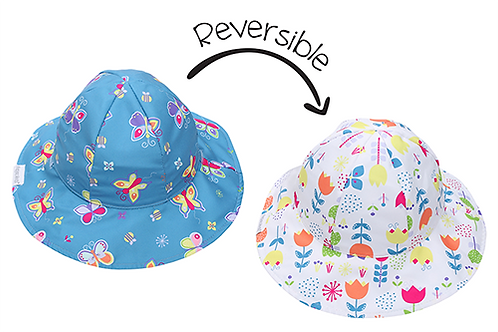 2 Sun Hats-left is blue with colorful butterflies - right is white with colorful flowers