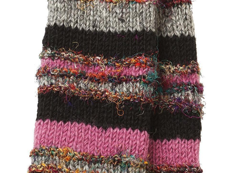Knit wool knee high leg warmers, black, pink & gray stripes alternating with multi-colored silk stripes