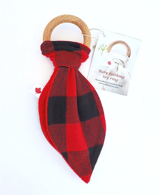 Wooden Teething Ring with black & red checkered fabric tied on in shape of Bunny Ears