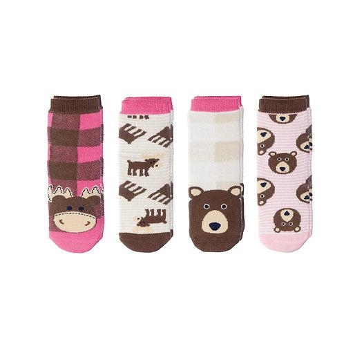 Flapjack Kids Mix & Match Socks Set - Pink Moose / Brown Bear