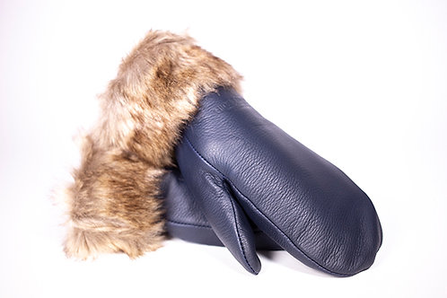 Pair of soft navy blue leather mitts with brown fur trim at cuffs