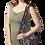 Female modeling Mandu Shoulder Bag 2 outer pockets stripes and patterns in black
